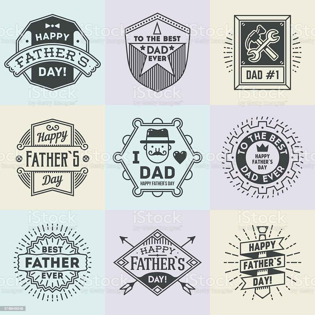 Happy Father`s Day assorted design insignias logotypes set. vector art illustration