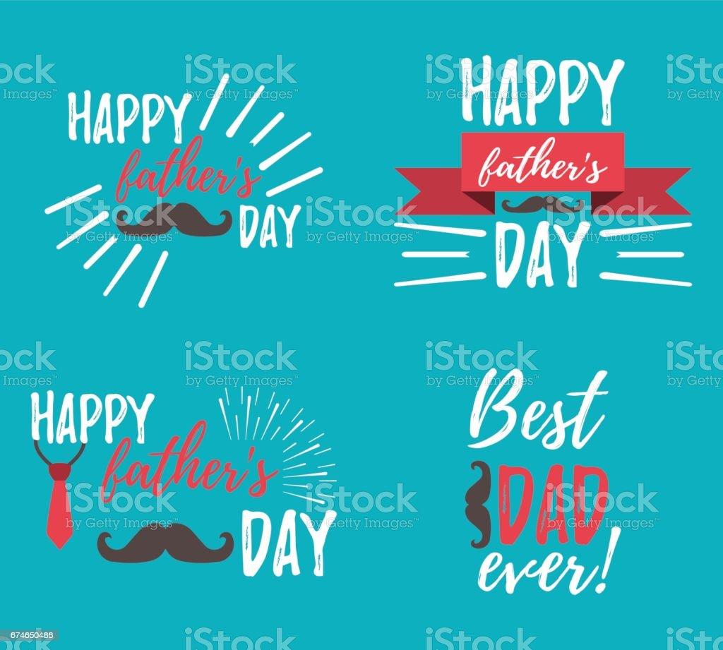 Feliz día del padre banner y giftcard. Ilustración de vector. - ilustración de arte vectorial
