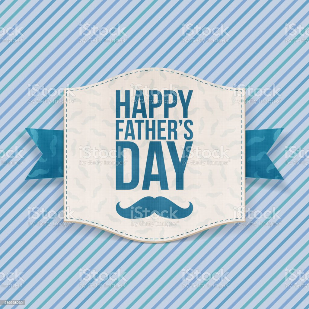 Happy Fathers Day Banner with blue Ribbon vector art illustration