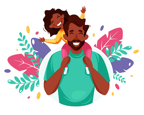 Happy Father's Day. Black man with daughter in his shoulders. Father's Day greeting card, banner concept. Vector illustration in flat style.