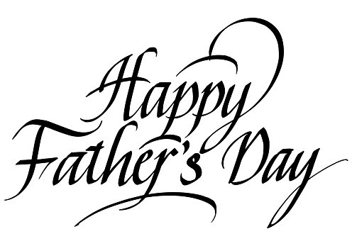 Happy Father's Day Calligraphic Inscription. Calligraphic Lettering Design Template. Creative Typography for Greeting Card, Gift Poster, Banner etc.