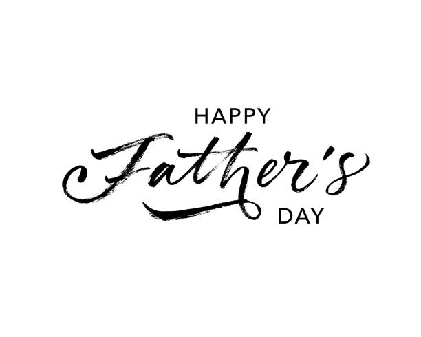 Happy Father's day calligraphy greeting card. Modern vector brush calligraphy. Happy Father's Day typography design. Happy Father's day calligraphy greeting card. Modern vector brush calligraphy. Happy Father's Day typography design, hand drawn lettering. Brush pen holiday lettering isolated on white background. fathers day stock illustrations