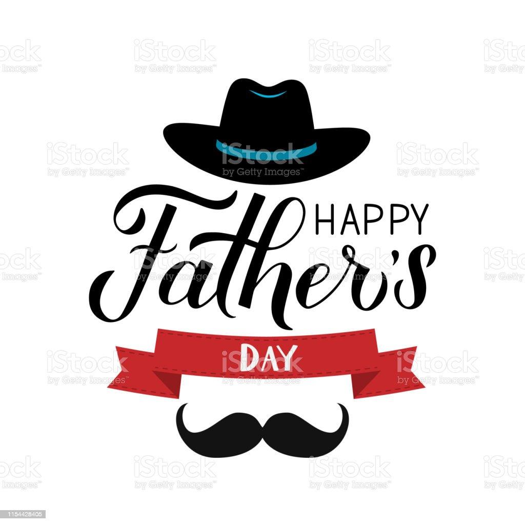 Ilustración De Feliz Fatherâs Día Caligrafía De La Mano Con