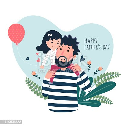 istock Happy father's day card. Cute little girl on her father's shoulder in heart shaped. 1140506688