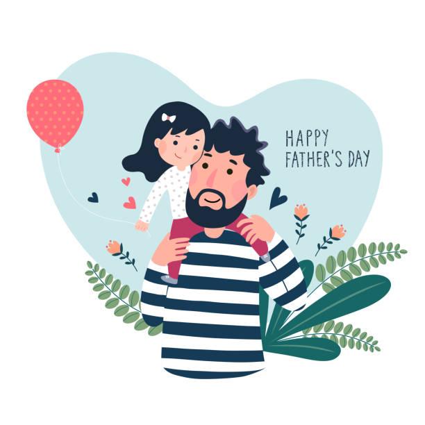 ilustraciones, imágenes clip art, dibujos animados e iconos de stock de feliz tarjeta de fatherâs días. linda niñita en su hombro fatherâs en forma de corazón. - hija
