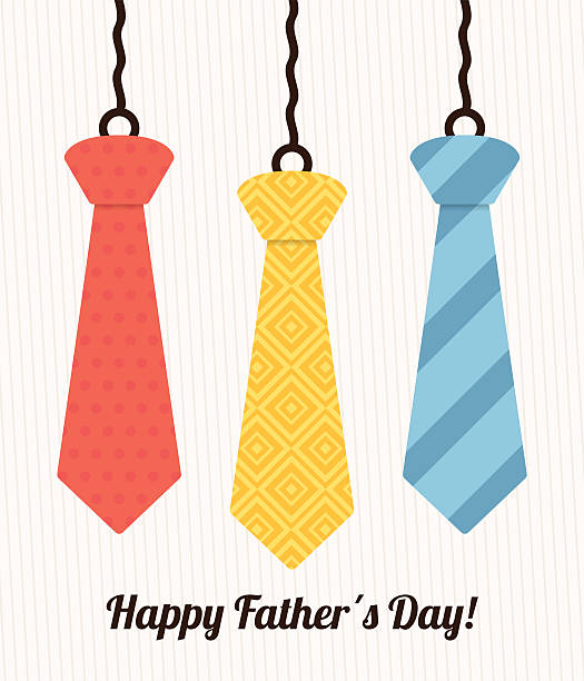 happy fathers day card design. - tie stock illustrations, clip art, cartoons, & icons