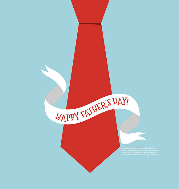 happy fathers day card design with big tie. vector illustration. - tie stock illustrations, clip art, cartoons, & icons