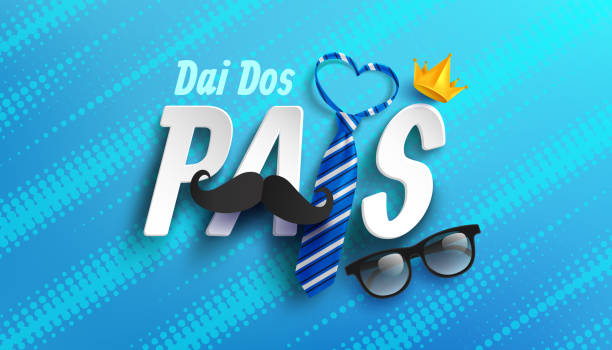 Happy Father's Day card in portuguese words with necktie and glasses for dad on blue.Promotion and shopping template for Father's Day.Vector illustration EPS10 vector art illustration