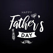 istock Happy Father's Day card on black background. Vector 1242096250