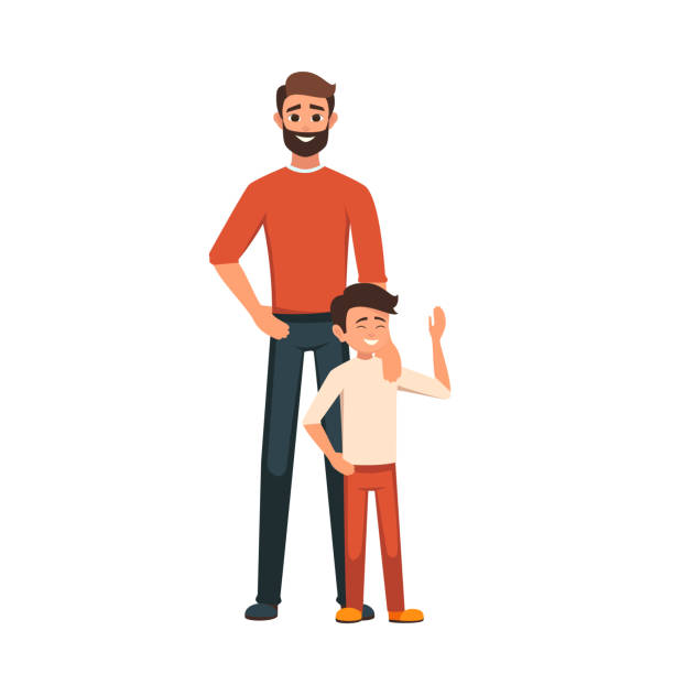 Happy Father's Day card Happy Father's Day. Dad with his son standing. the parent put his hand on his son's shoulder. Tenderness and care indian family stock illustrations