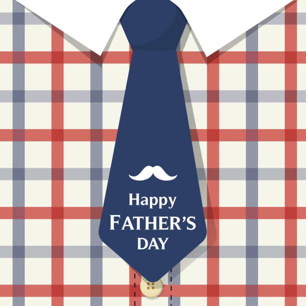 ilustraciones, imágenes clip art, dibujos animados e iconos de stock de día tarjeta vector ilustración feliz padre, camisa de franela de papá lindo con corbata azul. - fondos de franela