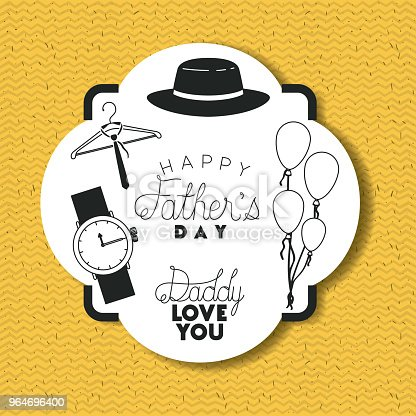 Happy Fathers Day Card With Accessories Stock Vector Art & More Images of Balloon 964696400
