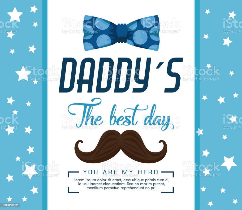 Happy Fathers Day Card With Calligraphy And Accessory Stock Vector