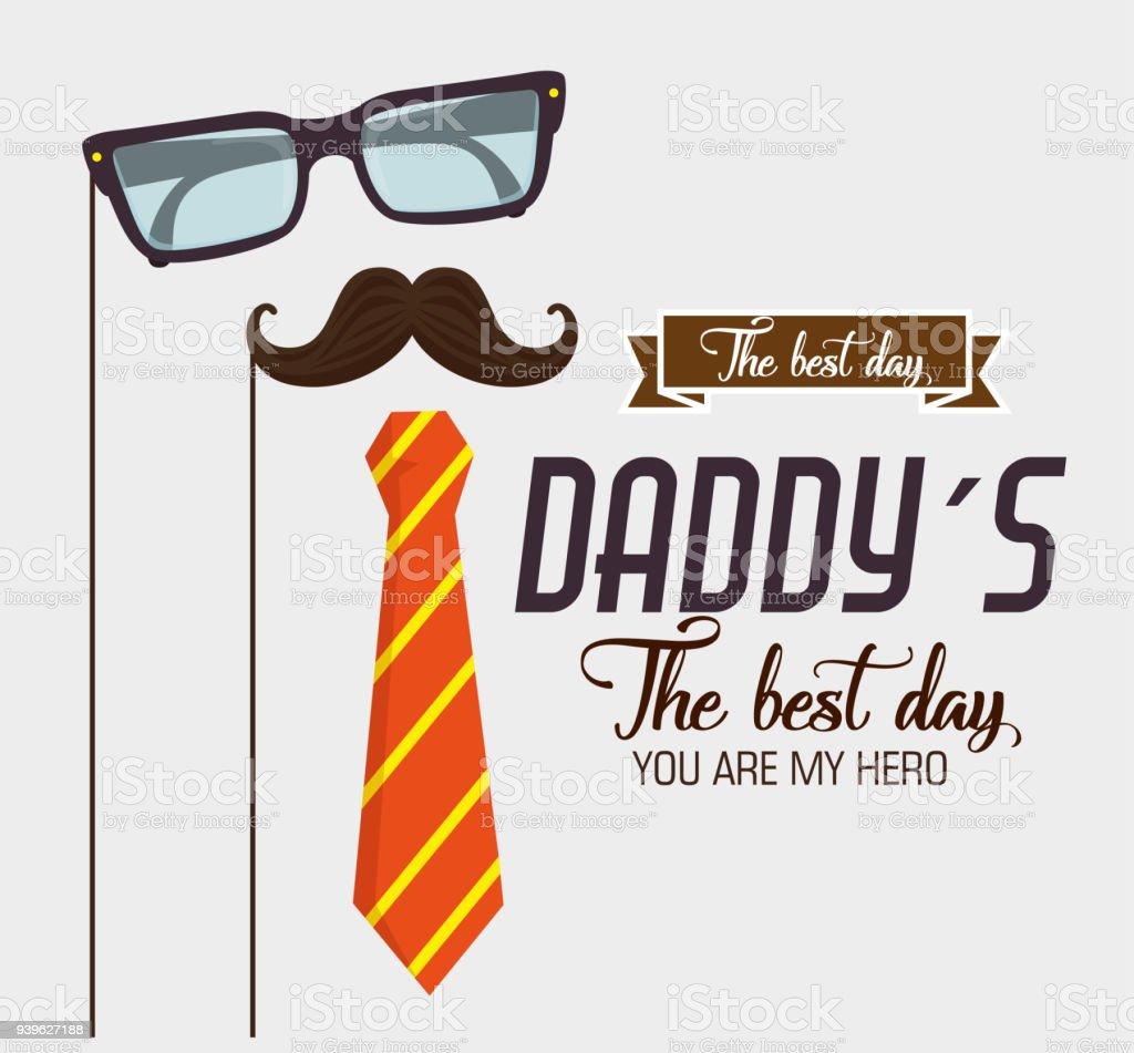 幸せな父親の日カード書道とアクセサリー ベクターアートイラスト
