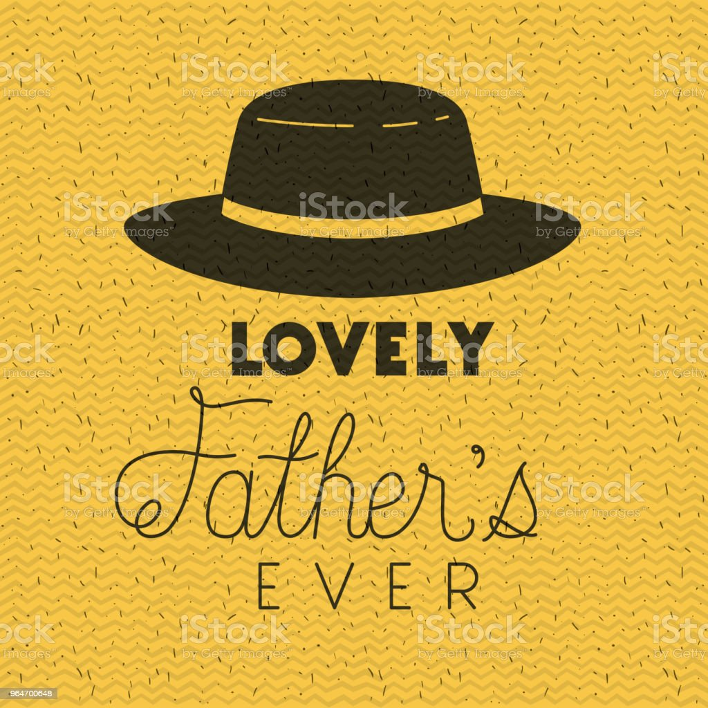 happy fathers day card with elegant hat royalty-free happy fathers day card with elegant hat stock illustration - download image now