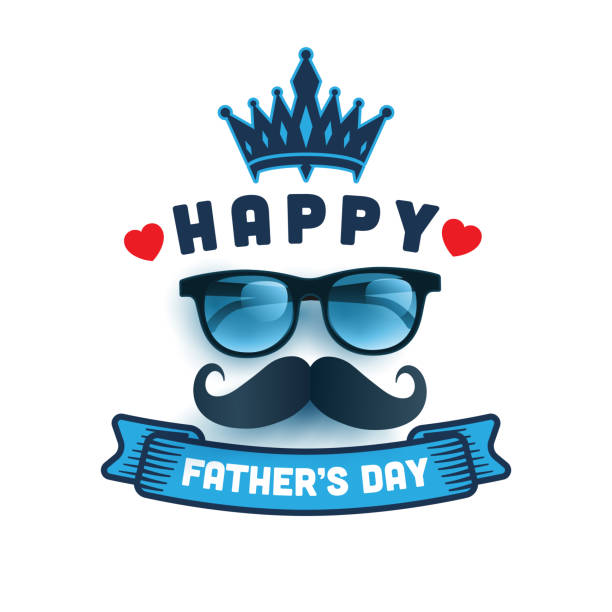 Happy Father's Day card with gift box on blue background.Greetings and presents for Father's Day in flat lay styling.Promotion and shopping template for love dad vector art illustration