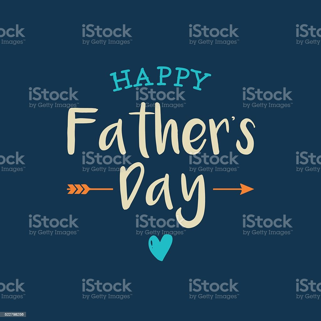 Happy fathers day card with icons heart and arrow. vector art illustration