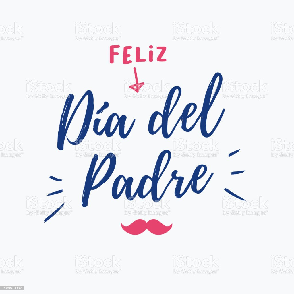 happy fathers day card with icons mustache spanish version stock