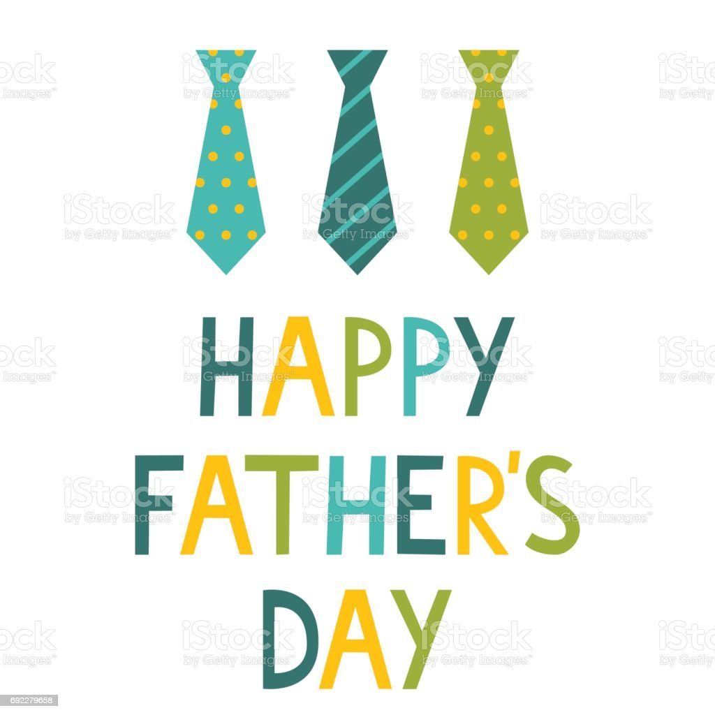 Happy Father's Day card with ties vector art illustration