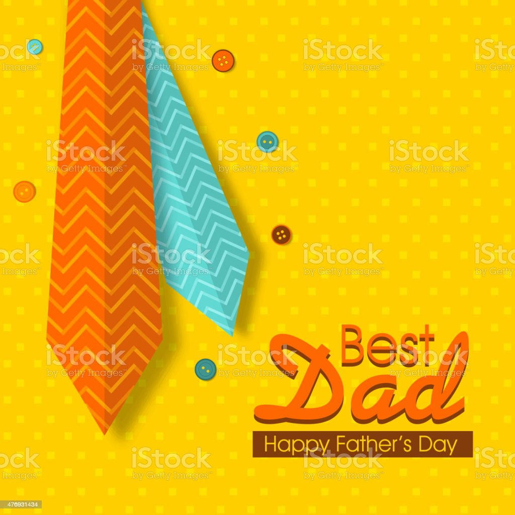 Happy Fathers Day Celebration Greeting Card With Neckties Stock