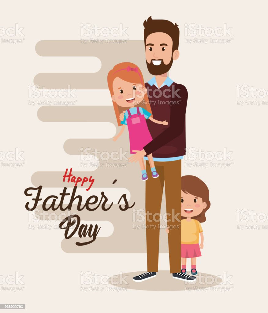 happy fathers day characters vector art illustration
