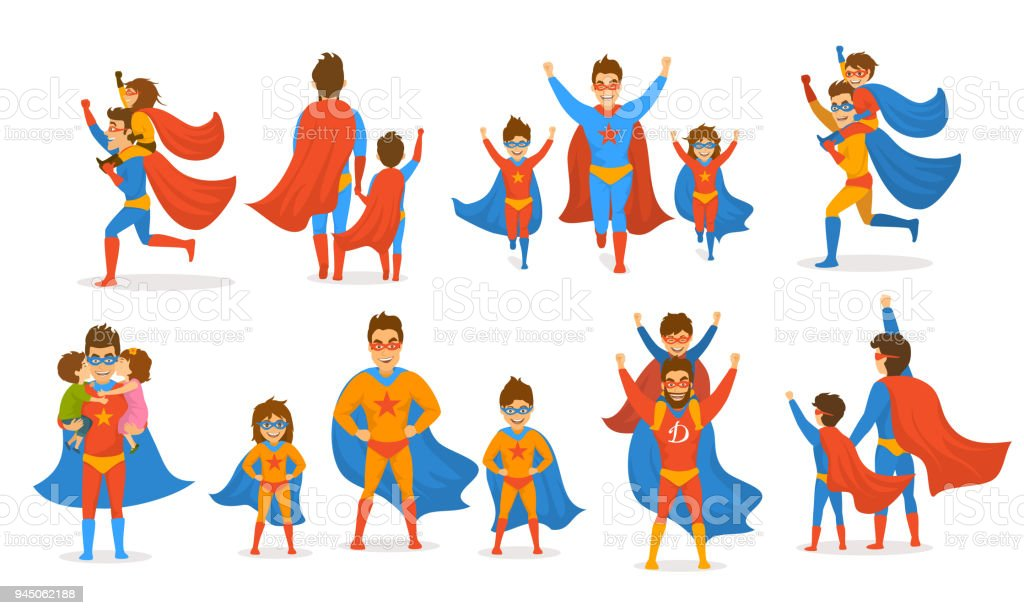 happy fathers day concept isolated vector illustration scenes set, dad and kids, boy and girl playing superheroes, dressed  in super hero costumes vector art illustration