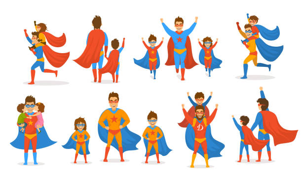ilustrações de stock, clip art, desenhos animados e ícones de happy fathers day concept isolated vector illustration scenes set, dad and kids, boy and girl playing superheroes, dressed  in super hero costumes - super baby