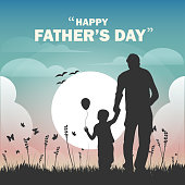 Happy father's day, dad and son beautiful silhouette sunset scene poster, vector illustration