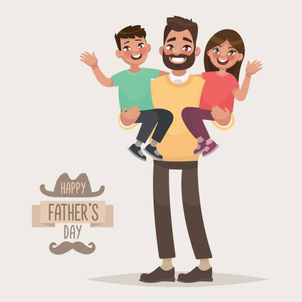 happy father's day. dad with his son and daughter in his arms. greeting card for the holiday - father stock illustrations, clip art, cartoons, & icons