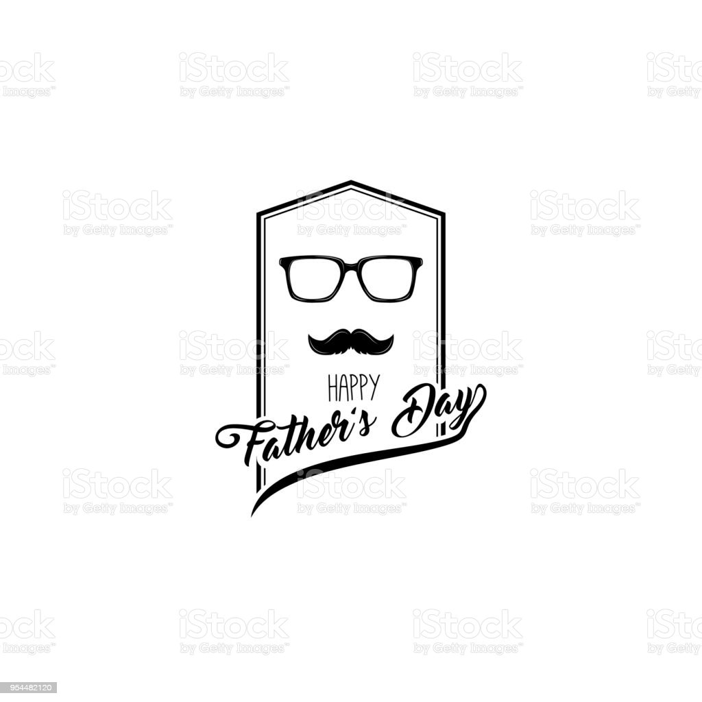 Happy Fathers Day Design Glasses Mustache Fathers Day Symbols