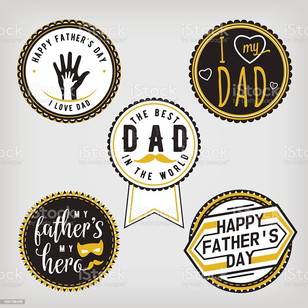 Happy Fathers Day Design gold Collection. Stickers set on light vector art illustration