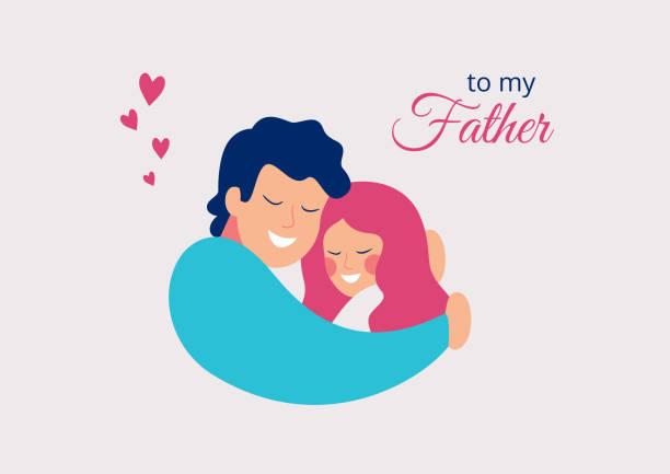 stockillustraties, clipart, cartoons en iconen met gelukkige vaderdag. vader omarmen zijn dochter met liefde - dochter