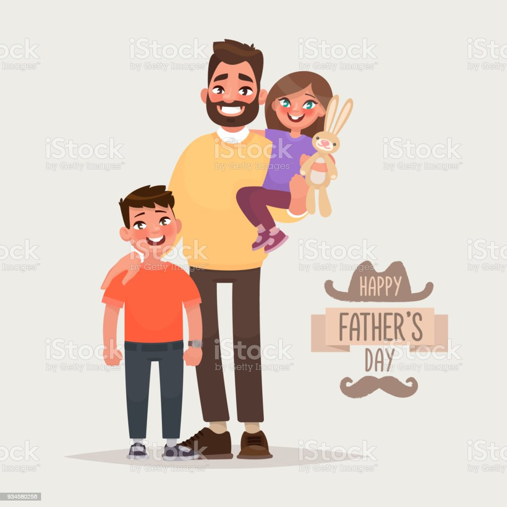 Happy fathers day father with his son and daughter greeting card happy fathers day father with his son and daughter greeting card vector illustration m4hsunfo