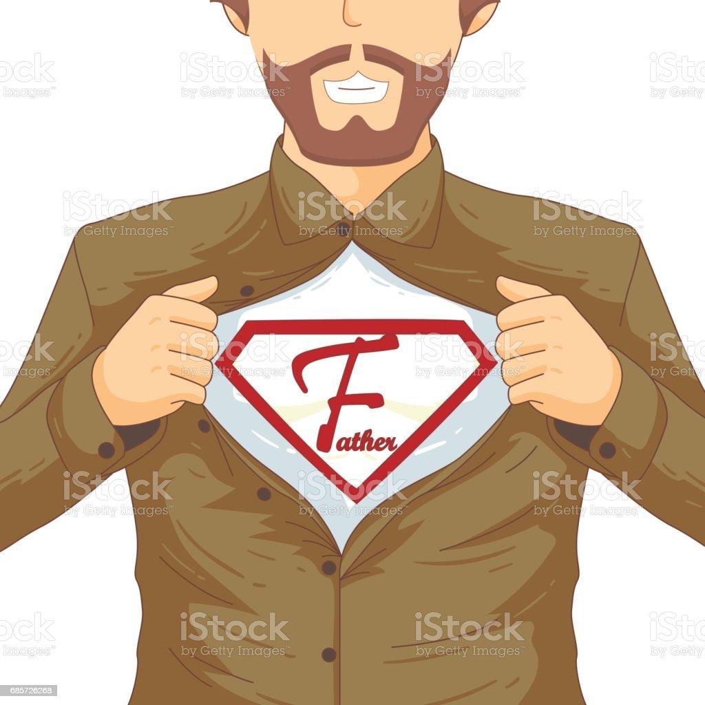 グリーティング カードまたはお祝いバナーのための幸せな父親の日フラット概念図。男は、彼の胸を表示する彼のシャツをリッピングします。白の背景にベクトル イラスト。銘刻文字のための場所 ロイヤリティフリーグリーティング カードまたはお祝いバナーのための幸せな父親の日フラット概念図男は彼の胸を表示する彼のシャツをリッピングします白の背景にベクトル イラスト銘刻文字のための場所 - お祝いのベクターアート素材や画像を多数ご用意
