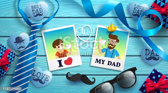istock Happy Father's Day flat lay style with polaroid frame of dad photo and boy, necktie,glasses and gift box on wood table.Promotion and shopping template for Father's Day.Vector illustration EPS10 1152113462