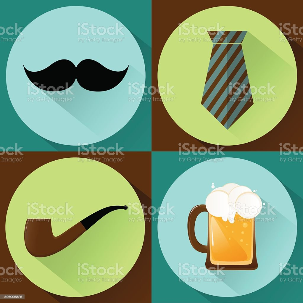 happy father's day flat set royalty-free happy fathers day flat set stock vector art & more images of alcohol