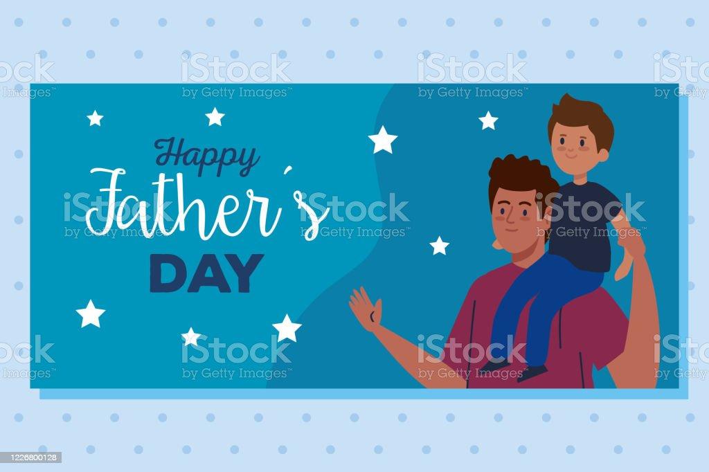 Heureux Peres Carte De Voeux Jour Et Papa Portant Le Fils Vecteurs Libres De Droits Et Plus D Images Vectorielles De Adulte Istock