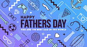 Happy fathers day greeting card. Mans things and objects pattern with fathers day greeting. Vector illustration.