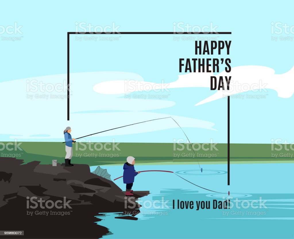 Happy Father's Day greeting card vector art illustration