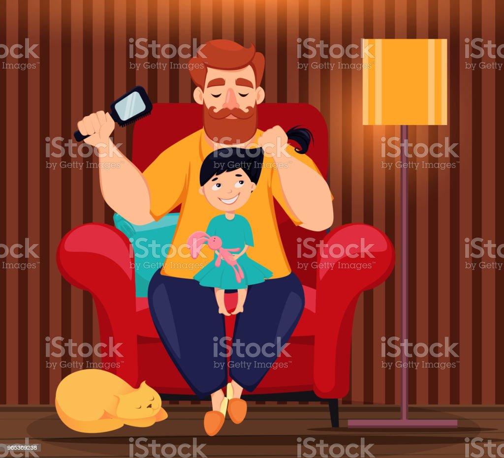 Carte de voeux pour la fête des Pères heureux - clipart vectoriel de Adulte libre de droits