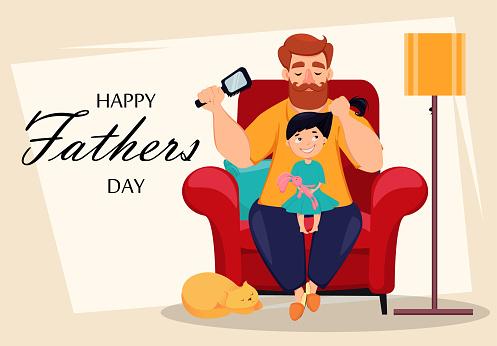 행복함 아버지 일 축하글 카드 6월에 대한 스톡 벡터 아트 및 기타 이미지