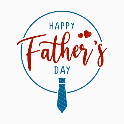 Happy Fathers day greeting card vector illustration. Celebration banner square design with tie and hand drawn typography, isolated on white background.