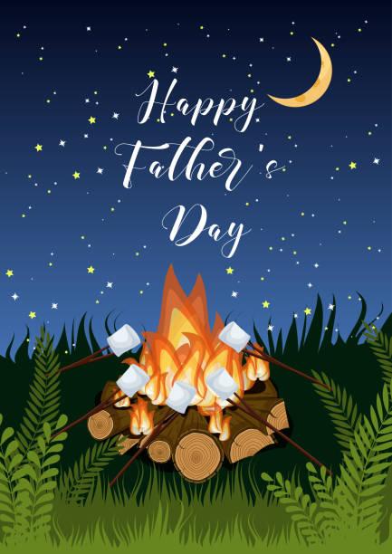 bildbanksillustrationer, clip art samt tecknat material och ikoner med happy fars dag gratulationskort med lägereld, rostning marshmallows, grönt gräs på stjärnhimmel. - summer sweden