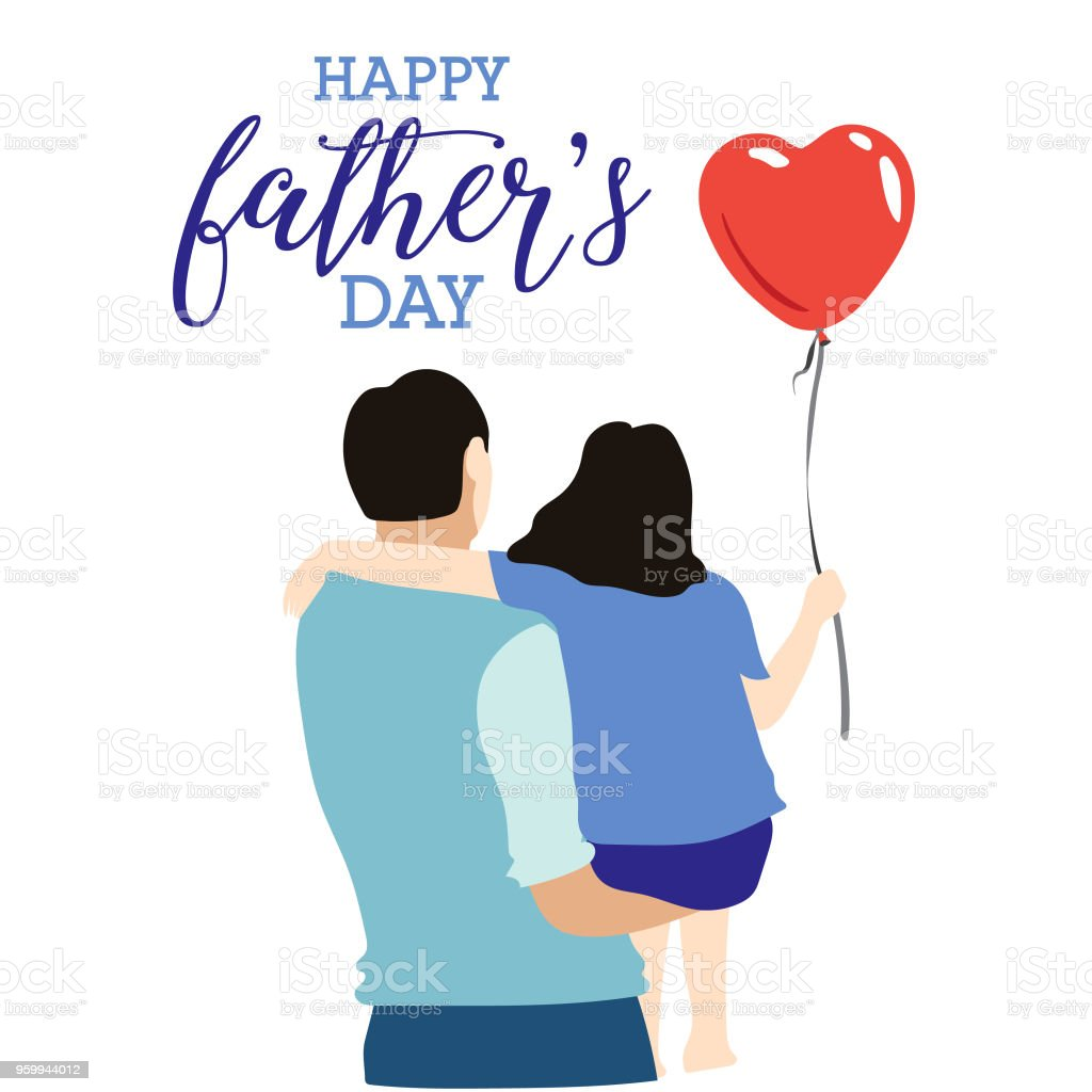 Happy Fathers Day Greeting Card With Typographic Design Vector