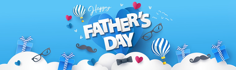 Happy Fathers Day greeting design for greeting card, banner, social media, promotion and sale