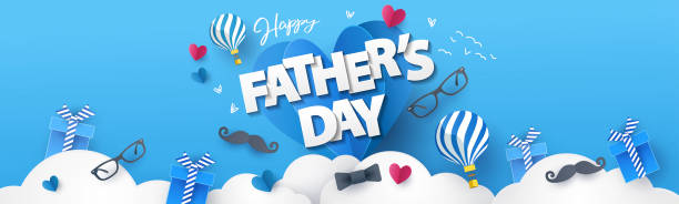 Happy Fathers Day greeting design for greeting card, banner, social media, promotion and sale Happy Fathers Day greeting design with origami hearts over clouds, air balloons, gifts, mustache, glasses, bow tie. Holiday illustration for greeting card, banner, social media, promotion and sale fathers day stock illustrations