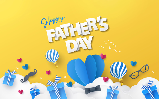 Happy Fathers Day greeting design with origami hearts over clouds, air balloons, gifts, mustache, glasses, bow tie.