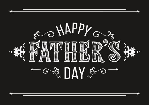 happy fathers day greeting in vintage style. hand drawn lettering for greeting card on a blurred background. greeting dad. man`s holiday in june - fathers day stock illustrations, clip art, cartoons, & icons