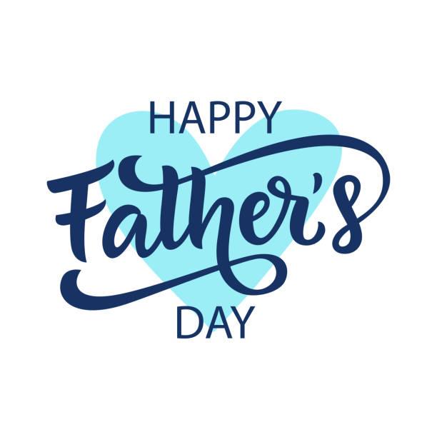 ilustrações, clipart, desenhos animados e ícones de cumprimento feliz do dia de pais com rotulação escrita mão - feliz dia dos pais