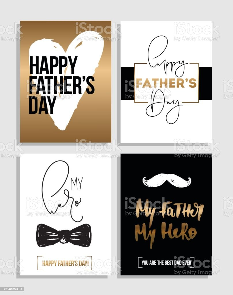 Happy Father's Day greetings card set. Best Dad ever poster design, hand drawn lettering vector art illustration
